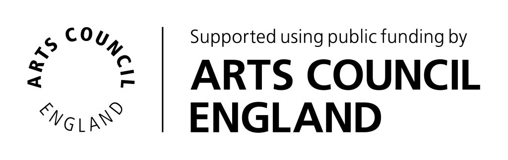 Arts Council England logo in black and white. Reads: Supported using public funding by Arts Council England.